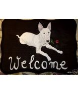 Bull Terrier Dog Custom Painted Welcome Sign Pl... - $31.95