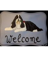 Bearded Collie Dog Custom Painted Welcome Sign ... - $29.95