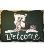 Chinese Crested Dog Custom Painted Welcome Sign... - $31.95