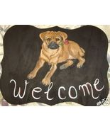Puggle Dog Custom Painted Welcome Sign Plaque - $31.95