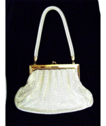 Whiting & Davis Art Deco Purse White Enamel Mes... - $50.00