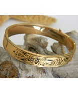 Vintage 10K Gold Filled Hinged Bangle Bracelet Etched Enamel