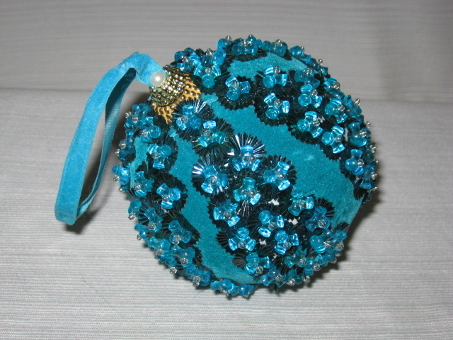 Large Vintage Blue Beaded & Sequin Musical Ornament