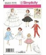 Doll Clothing Pattern Simplicity 3522 Retro 10.... - $5.93