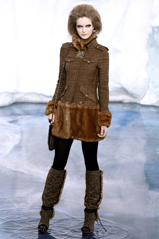 CHANEL RUNWAY UNIQUE BLACK BROWN TWEED FUR CLOG BOOTS 36 38 38.5 39 40 41