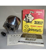 Zebco 55 Heavy Duty Spinner Reel with Original Box and Manuals