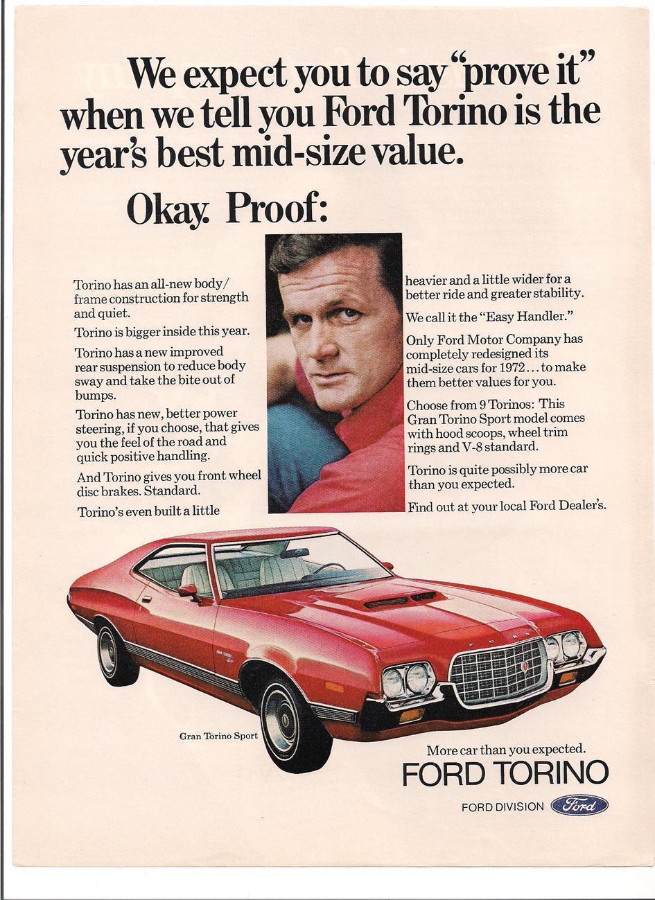 Ford gran torino sport vintage car ad 1972 garage art ask for Garage ad nancy
