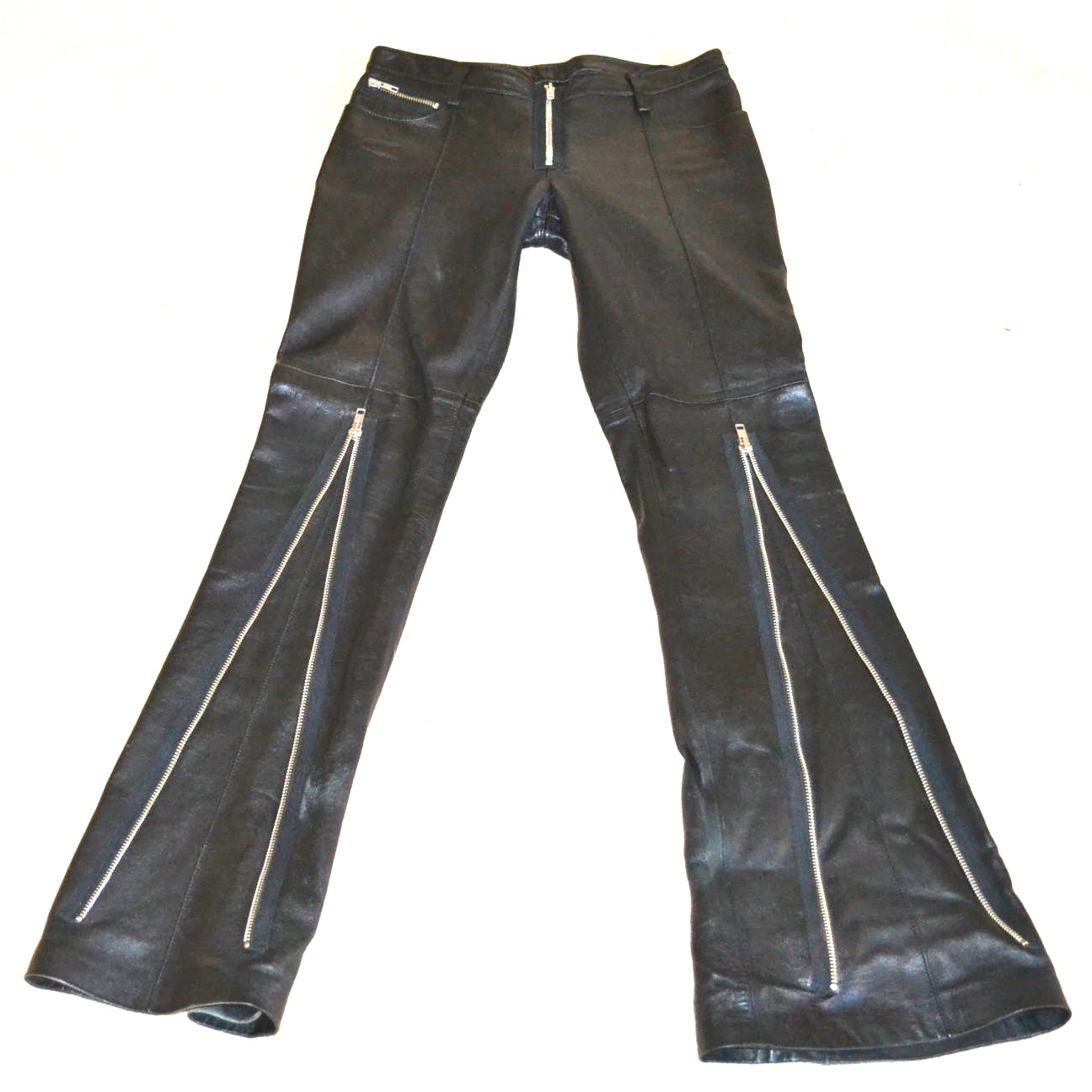 BEBE Leather Motorcycle Jeans Pants punk Rocker Zippers Leggings Flares Sz 4