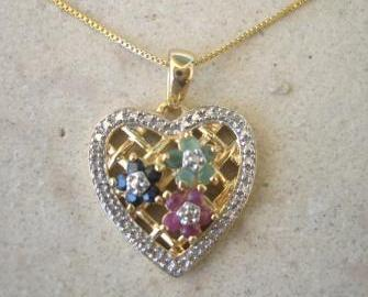 Multi Gem Flower Heart Pendant Necklace 18k Gold Sterling Silver Sapphire Ruby