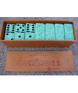 VTG Metal Spin Double Six Urea Dominoes Green Speckled - $16.99