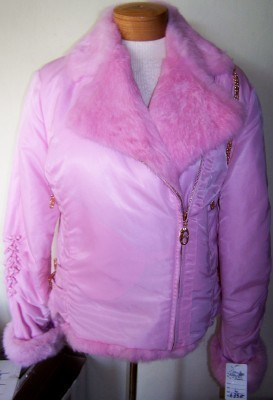 SKI SHOW PINK RABBIT FUR JACKET FRENCH DESIGNER PATRICK ASSULINE EBENE LARGE