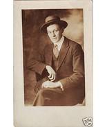 Vintage Photo Postcard Dapper Man on Chair Anti... - $6.00