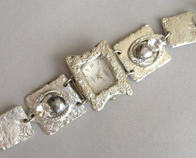 Silver Square Watch Swarovski Crystal Handcrafted Unique Wristwatch