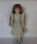 Porcelain Collectors Doll Brown Wavy Hair Flora... - $30.00