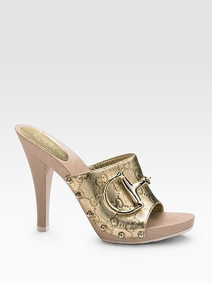 GUCCI CLASSIC GUCCISSIMA GG GOLD HORSEBIT CLOGS SHOES 39 9