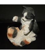Sculpture Playful Kittens Black White Brown Sto... - $10.00