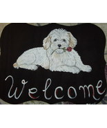 Coton De Tulear Dog Custom Painted Welcome Sign... - $29.95