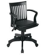 Black Finish Bankers Mission Style Swivel Wood ... - $154.00