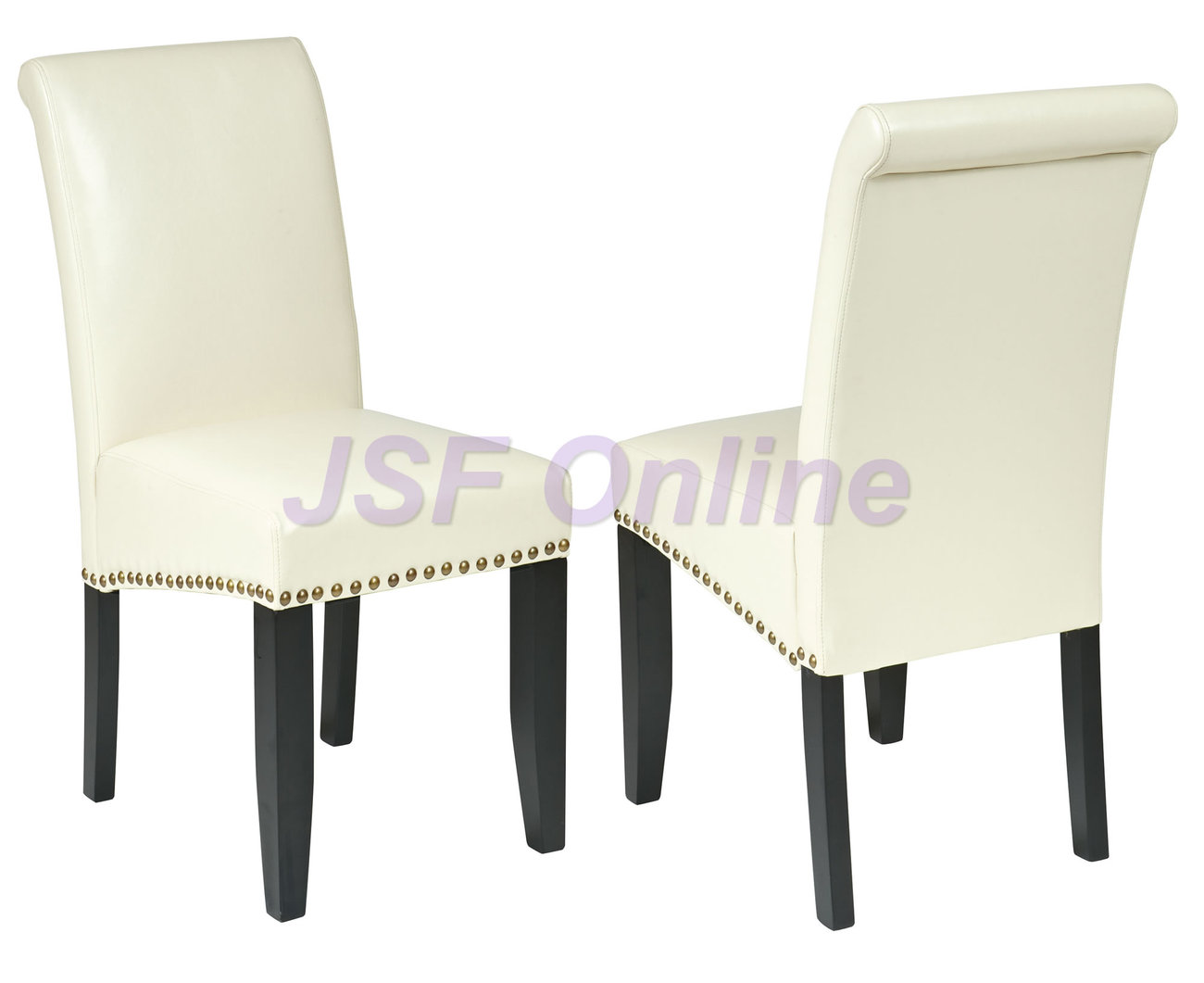 CREAM Off White ECO Leather Parsons Dining Table Chairs WNail Head Trim Accent