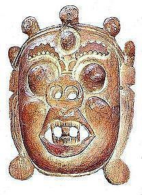 Antique Himalayan Wooden Mask: Mahakala