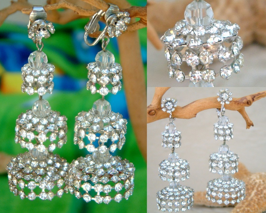 Rhinestone Large Chandelier Clip On Earringss and wide range of
