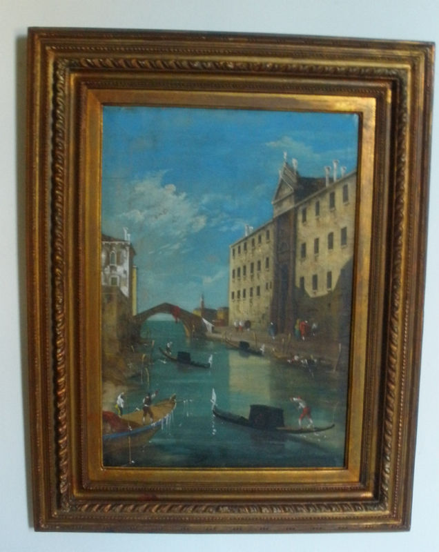 WONDERFUL XIX CENTURY OIL ON CANVAS PAINTING VENICE ITALY SIGNED FULL OF LIFE