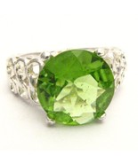 Magnificent Natural VS1 12mm 5ct. Peridot Sterl... - $717.19