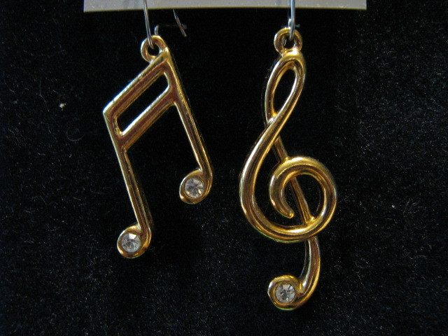 "Avon Gold Toned ""Musical Note"" Pierced Dangle Earrings with Rhinestones - 1989"
