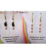 Fresh Water Pearl  Bloodstone Dangle Earrings S... - $19.25