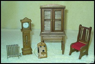 Antique Doll House Phone, Heater, Hutch, Clock & Chair