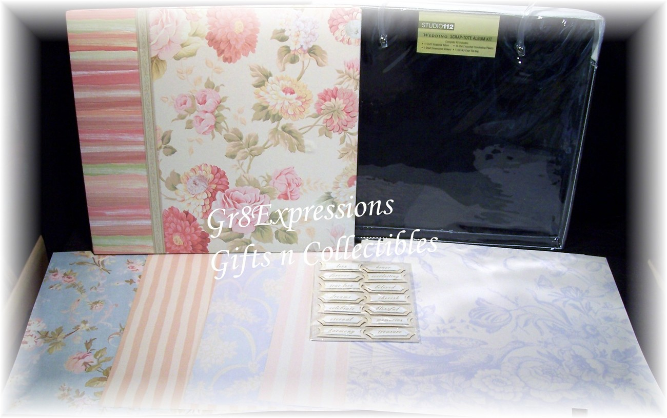 "12x12 ""WEDDING"" Scrapbook Album Kit w/Totebag~26 Pc~NEW"