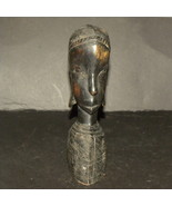Hand Carved Bust Native Woman Ebony Kenya Besmo... - $20.00