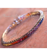 PRINCESS CUT COVENANT GODS PROMISE OVER THE RAINBOW COLORFUL CZ TENNIS BRACELET