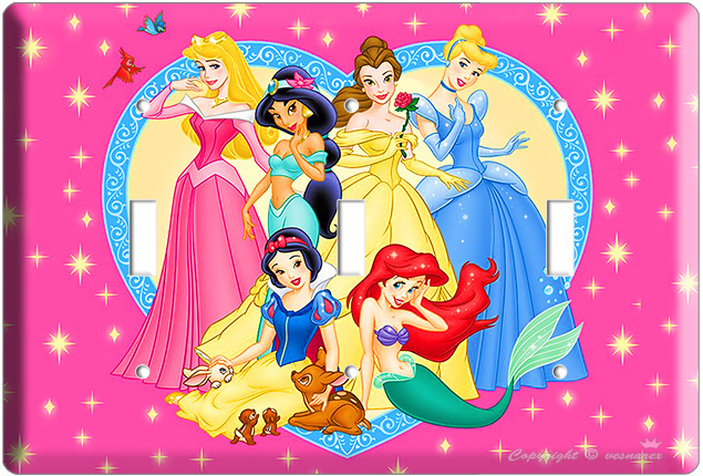DISNEY PRINCESS KIDS TRIPLE LIGHT SWITCH COVER WALL PLATE