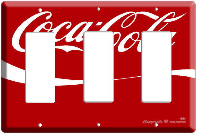 COCA COLA COKE TRIPLE DECORA LIGHT SWITCH PLATE COVER