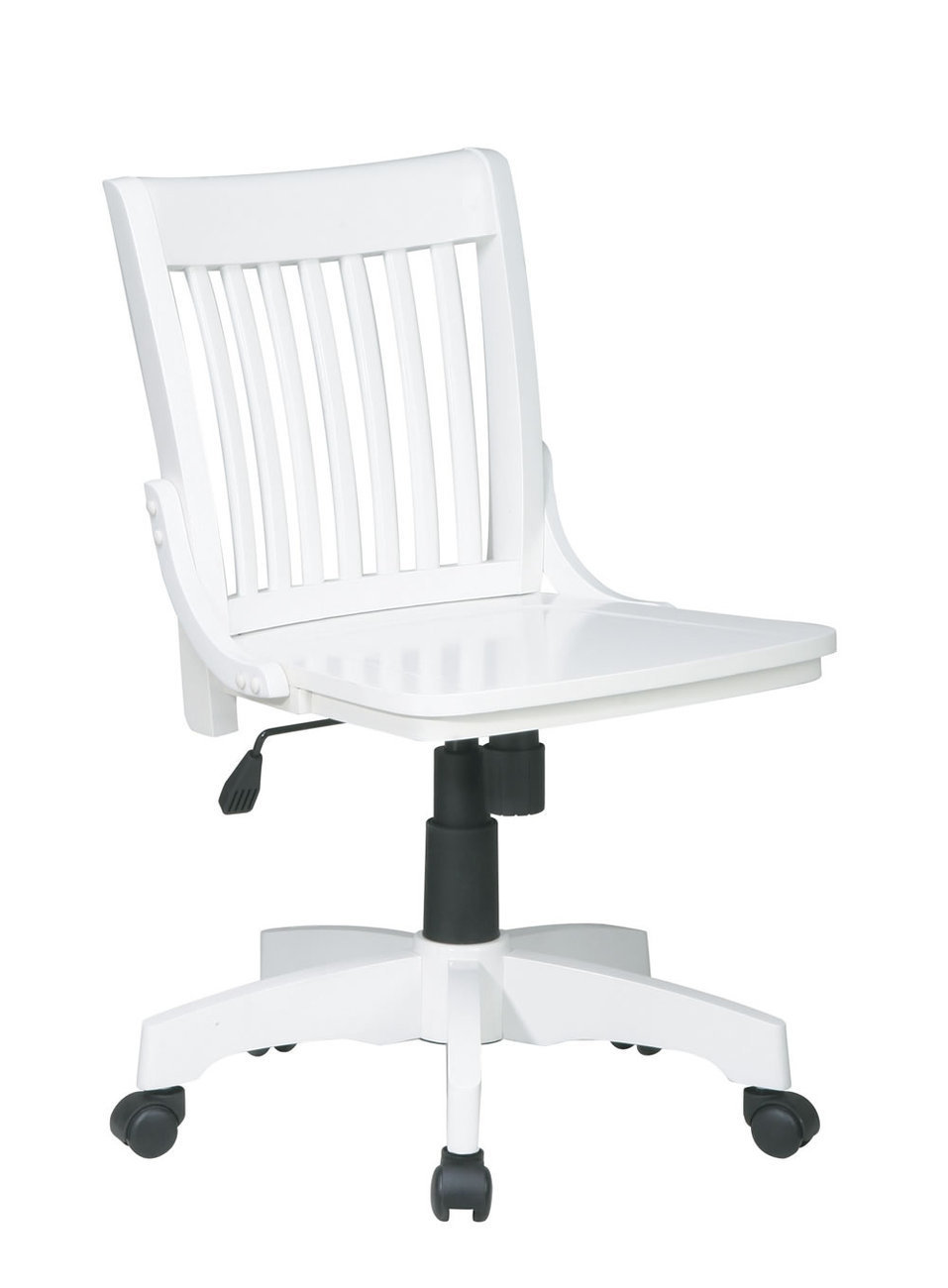 white mission style wood chair armless banker swivel desk office chair