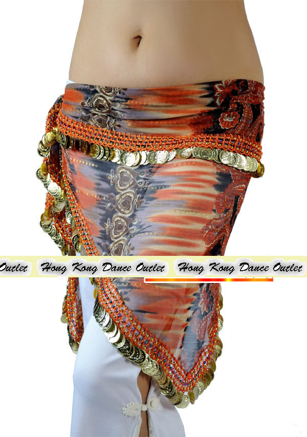 Belly Dance Costume Metal Coin Chiffon Triangle Hip Scarf