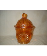Imperial Marigold Carnival Glass Candy Jar & Li... - $49.99