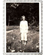 Vintage Photograph Pretty Girl in the Flower Fi... - $6.00