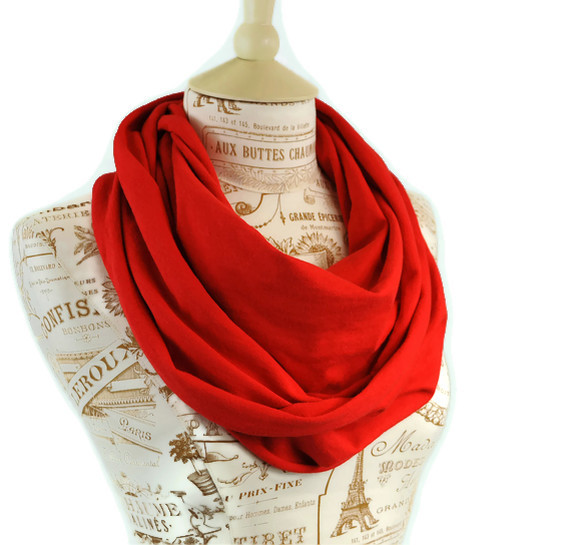 Circular Infinity Scarf Apple Red Loop Scarf Jersey