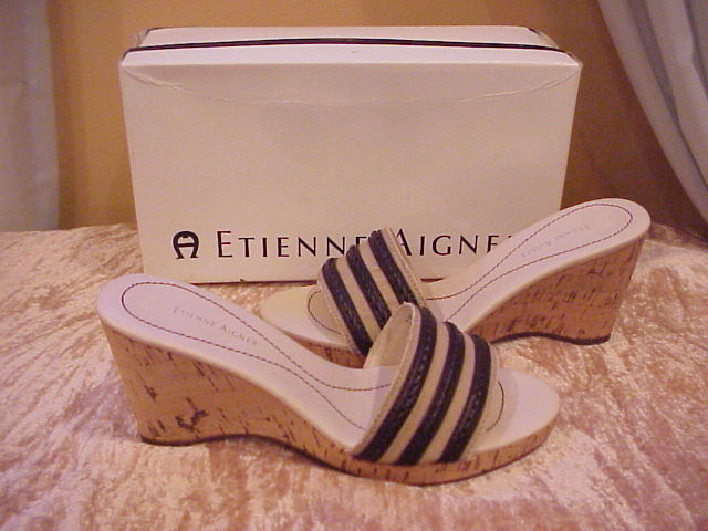 Etienne Aigner Brown & Tan Cork Wedge Sandals Size 8.5