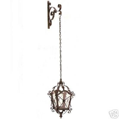 Iron Hanging Candle Lantern with Wall Bracket