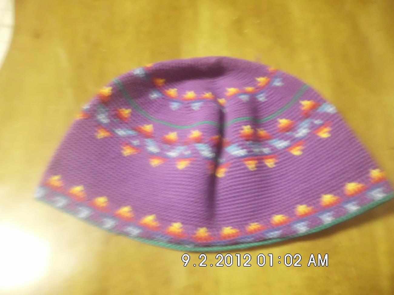 Childrens Crochet Kufi Hat Purple W/ Design Handmade