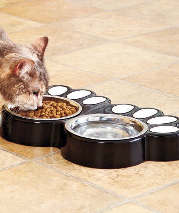 Black Paw Print Food & Water Buffets Dog Or Cat