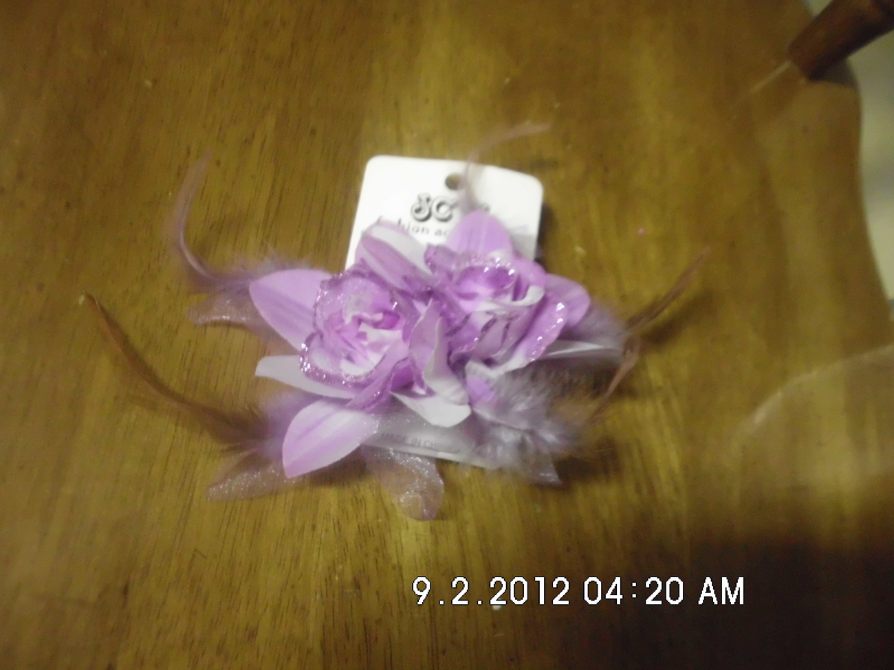Lavender Flower With Feather Ponytail Holder