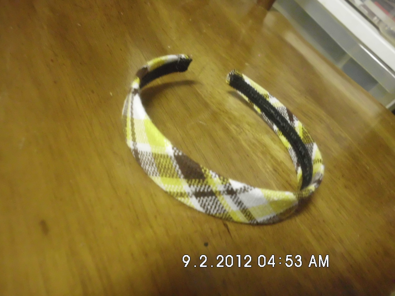Yellowish and Brown Plaid Headband
