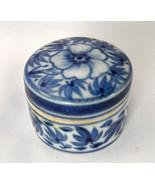 Trinket Box - Blue & White Floral Porcelain - D... - $5.00