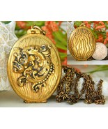 Vintage Brass Locket Pendant Necklace Gold Blac... - $24.95