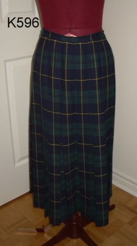 K596 Blue Green Yellow Tartan Plaid Wool Pleated Skirt 30 waist Size M
