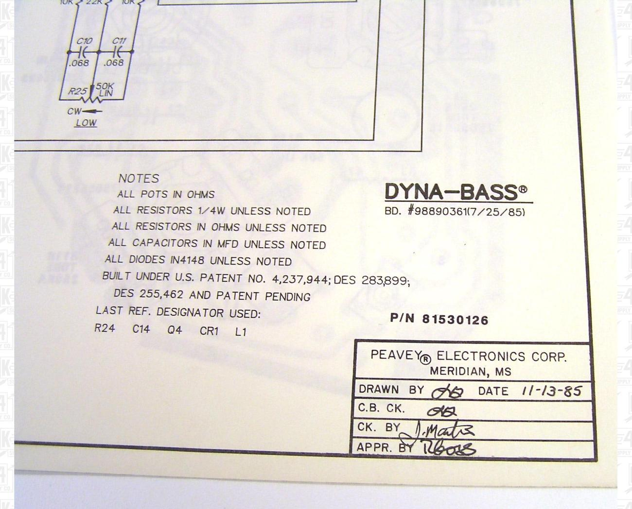 Peavey Dynabass Schematic http://www.bonanza.com/listings/Peavey-Dyna-Bass-Preamp-Schematic-and-Component-Layout/25101868